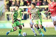 Forest Green Rovers Josh March(28) and Forest Green Rovers Jevani Brown, on loan from Colchester United(16) during the EFL Sky Bet League 2 match between Forest Green Rovers and Salford City at the New Lawn, Forest Green, United Kingdom on 18 January 2020.