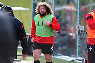 Adam Jones of Wales looks on.  Wales rugby team training at the Vale, Hensol near Cardiff, South Wales on Tuesday 12th March 2013.  the team are training ahead of the final RBS Six nations match against England this weekend. pic by  Andrew Orchard, Andrew Orchard sports photography,