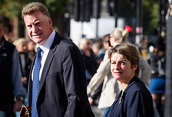 © Licensed to London News Pictures. 25/10/2017. London, UK. Jim Moseley, Chief Executive at Red Tractor, and, Sue Lockhart, Head of Assurance at Red Tractor, seen leaving Portcullis House at the Houses of Parliament after giving evidence to a Environment, Food and Rural Affairs Committee on the 2 Sisters Poultry Plant, which was the subject of an investigation found the supplier had been tampering with food safety records. Photo credit: Ben Cawthra/LNP