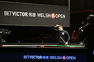 Ronnie O'Sullivan gives the thumbs up signal as he wins his match against Mark Selby.  Betvictor Welsh Open snooker 2016, day 5 at the Motorpoint Arena in Cardiff, South Wales on Friday 19th Feb 2016.  <br /> pic by Andrew Orchard, Andrew Orchard sports photography.