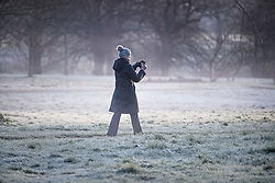© Licensed to London News Pictures. 22/01/2021. London, UK. A woman takes a photograph as she walks through a frost covered landscape in Hyde Park, central London on a cold winter morning. Parts of the UK are currently experiencing heavy flooding caused by heavy rainfall during storm Christoph.  Photo credit: Ben Cawthra/LNP