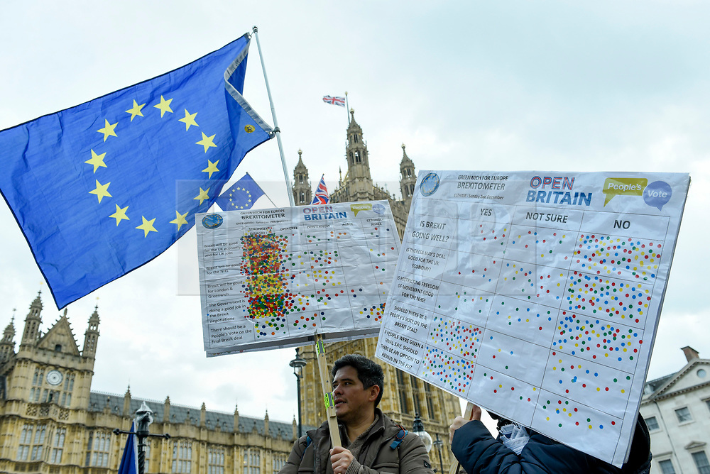 © Licensed to London News Pictures. 05/12/2018. LONDON, UK.  Anti-Brexit supporters hold up Brexitometers (gauges of regional public opinion on Brexit) outside the Houses of Parliament as MPs debate Theresa May's Brexit deal with the European Union ahead of the meaningful vote of December 11.  Photo credit: Stephen Chung/LNP
