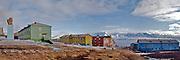 Barentsburg, Spitsbergen, Svalbard with Lenin overlloking the cily.