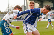 Scotland's Liam Miller (Sunderland) holds off the Russian pair of Igor Vorobyev & Bogdan Logachev during the U17 European Championships match between Scotland and Russia at Simple Digital Arena, Paisley, Scotland on 23 March 2019.
