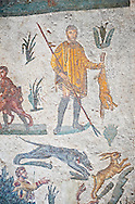Hunter with a hare from the Room of The Small Hunt, no 25 - Roman mosaics at the Villa Romana del Casale which containis the richest, largest and most complex collection of Roman mosaics in the world, circa the first quarter of the 4th century AD. Sicily, Italy. A UNESCO World Heritage Site. .<br /> <br /> If you prefer to buy from our ALAMY PHOTO LIBRARY  Collection visit : https://www.alamy.com/portfolio/paul-williams-funkystock/villaromanadelcasale.html<br /> Visit our ROMAN MOSAICS  PHOTO COLLECTIONS for more photos to buy as buy as wall art prints https://funkystock.photoshelter.com/gallery/Roman-Mosaics-Roman-Mosaic-Pictures-Photos-and-Images-Fotos/G00008dLtP71H_yc/C0000q_tZnliJD08