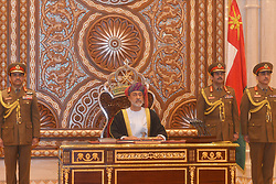 HandOut photo - New sworn-in Sultan Haitham Bin Tariq Bin Taimour of Oman delivers his first speech during a ceremony held in Muscat, Oman, on January 11, 2020, few hours after Sultan Qaboos Bin Said passed away. Photo by Balkis Press/ABACAPRESS.COM