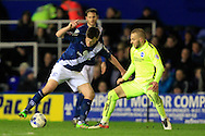 Stephen Gleeson of Birmingham City (L) in action with Jiri Skalak of Brighton & Hove Albion challenging.<br /> Sky Bet Football League Championship match, Birmingham City v Brighton & Hove Albion at St.Andrew's Stadium in Birmingham, the Midlands on Tuesday 5th April 2016.<br /> Pic by Ian Smith, Andrew Orchard Sports Photography.