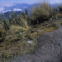 Ancient Chachapoyan petroglyph on Mt. Shubet. (points north)