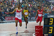 Mcc0055084 . Daily Telegraph<br /> <br />  England's Matthew Hudson-Smith finishes the  4x400 Relay Final winning Gold on Day 10 of the 2014 Commonwealth Games in Glasgow .<br /> <br /> <br /> Glasgow 2 August 2014