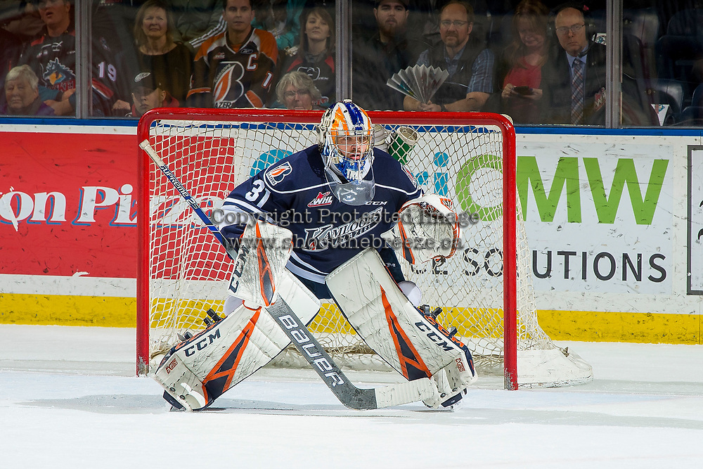 KELOWNA, BC - FEBRUARY 02:  Dylan Ferguson #31 of the Kamloops Blazers defends the net against the Kelowna Rockets at Prospera Place on February 2, 2019 in Kelowna, Canada. (Photo by Marissa Baecker/Getty Images)