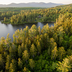 An aerial view of the Appalachian Mountain Club's Gorman Chairback Lodge in Maine's 100 Mile Wilderness.