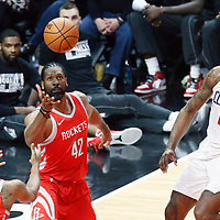 28 February 2018: Houston Rockets center Nene Hilario (42) goes for the rebound next to LA Clippers center DeAndre Jordan (6) during the Houston Rockets 105-92 victory over the LA Clippers, at the Staples Center, Los Angeles, California, USA.