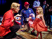 25 APRIL 2019 - CEDAR RAPIDS, IOWA: US Sen. ELIZABETH WARREN (D MA) talks to EMMELINE WARBASSE, 3 years old, from Cedar Rapids, after Warren's campaign speech at the Linn Phoenix Club in Cedar Rapids. The Linn Phoenix Club is an organization that promotes Democratic candidates in Linn County, Iowa. Sen. Warren is campaigning in eastern Iowa Thursday night and Friday to promote her bid to the Democratic candidate for the US Presidency. Iowa traditionally hosts the the first selection event of the presidential election cycle. The Iowa Caucuses will be on Feb. 3, 2020.            PHOTO BY JACK KURTZ