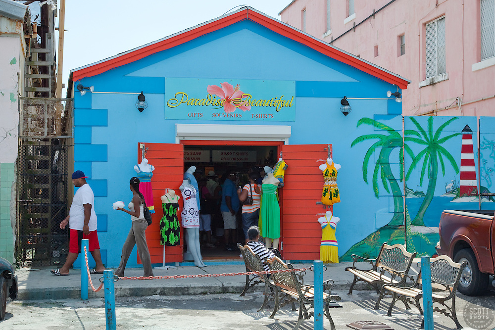 Paradise Beautiful in Nassau, Bahamas. This is a very colorful little shop across from Prince George's Wharf.
