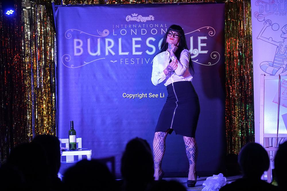 London,England,UK. 22th May 2017. Aima Indigo *London, UK preforms at the London Burlesque Festival 2017 - Tattoo Revue at Moth Club, Hackney,London,UK. by See Li