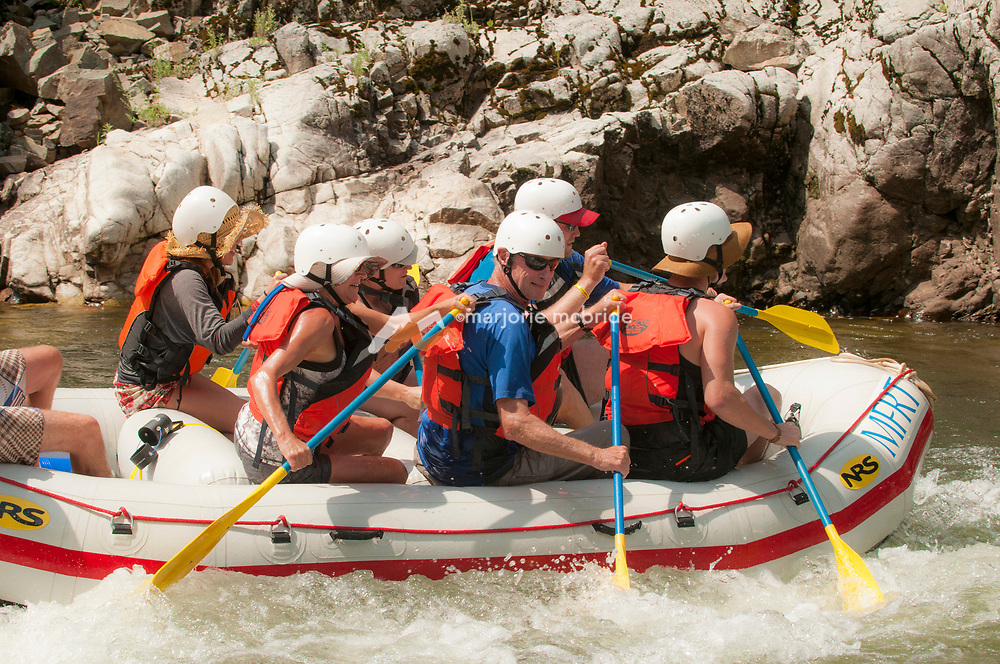 Rafting Pistol Creek rapid, Middle Fork of the Salmon River, Idaho.
