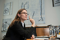 08 JUL 2015, BERLIN/GERMANY:<br /> Katrin Suder, Staatssekretaerin im Bundesministerium der Verteidigung, waehrend einem Interview, in Ihrem Buero, Bundesministerium der Verteidigung<br /> IMAGE: 20150708-01-035<br /> KEYWORDS: BMVg