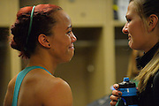 April 4, 2016; Indianapolis, Ind.; Megan Mullings and Hannah Wandersee share a moment in the locker room after the Seawolves fell to Lubbock Christian 78-73 the NCAA Division II Women's Basketball National Championship game at Bankers Life Fieldhouse.