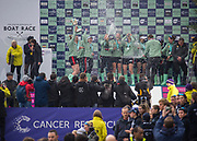 """Greater London. United Kingdom, """"Champagne Moment"""" Cambridge  Women's  BC celebrate winning the  University Boat Race against  Oxford University  Putney to Mortlake,  Championship Course, River Thames, London. <br /><br />Saturday  24.03.18<br /><br />[Mandatory Credit:Peter SPURRIER/Intersport Images]"""