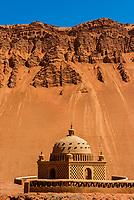 A tomb in the desert near the Bezeklik Thousand Buddha Caves, Flaming Mountains, Turpan, Xinjiang Province, China.