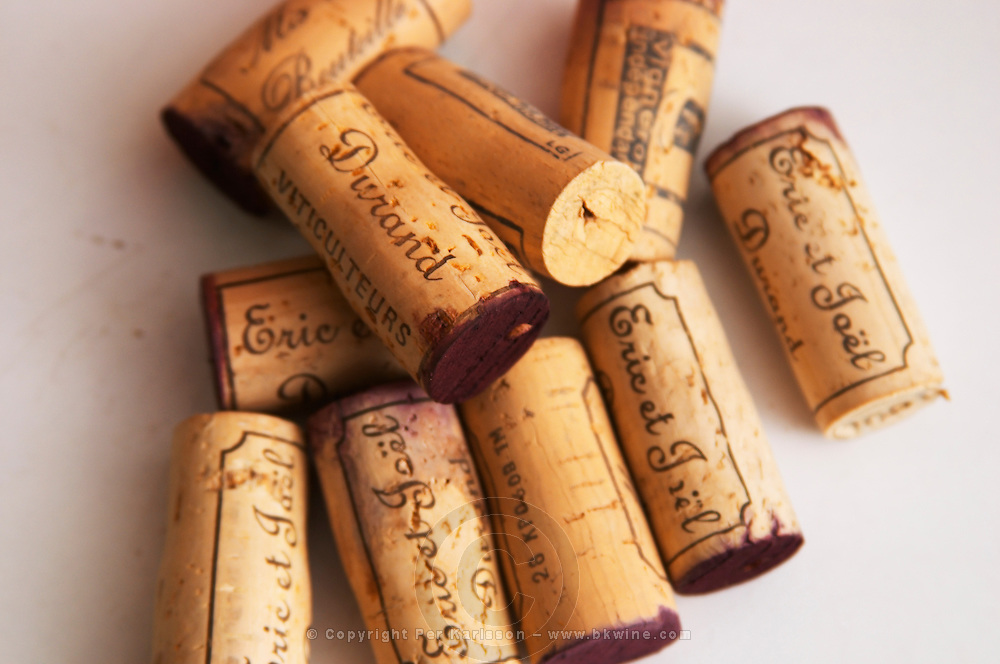 Corks stamped with Eric and Joel Durand against a white background. Domaine Eric et Joel Joël Durand, Ardeche, Ardèche, France, Europe