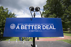 July 24, 2017 - Berryville, Virginia, USA - The empty podium before the speakers arrive at a press conference held by Congressional Democratic Leadership as they introduce 'A Better Deal: Better Jobs, Better Wages, Better Future', their new economic agenda at Rose Hill Park in Berryville. (Credit Image: © Alex Edelman via ZUMA Wire)