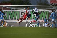 Tippeligaen 2013.<br /> Sandnes Ulf v Strømsgodset.<br /> Sandnes Stadion. 14.07.2013<br /> <br /> Foto. Simon Rogers, Digital Sport.<br /> <br /> Sandnes. Sean McDermott<br /> Strømsgodset. Peter Kovacs, Bismark Boateng.