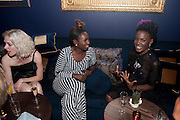 PORTIA FREEMAN; NASRIN JEAN-BAPTISTE; SHINGAI SHONIWA ( NOISETTES;   DSquared2 Launch of their Classic collection. Tramp. Jermyn St. London. 29 June 2011. <br /> <br />  , -DO NOT ARCHIVE-© Copyright Photograph by Dafydd Jones. 248 Clapham Rd. London SW9 0PZ. Tel 0207 820 0771. www.dafjones.com.