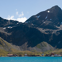 Grytviken,  a recently-closed British whaling station, sits beside Cumberland Bay, South Georgia, Antarctica.