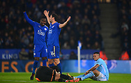 Alekseander Dragovic of Leicester city appeals for a free kick after team mate Ben Hamer of Leicester city is fouled by Gabriel Jesus of Manchester City (r) .Carabao Cup quarter final match, Leicester City v Manchester City at the King Power Stadium in Leicester, Leicestershire on Tuesday 19th December 2017.<br /> pic by Bradley Collyer, Andrew Orchard sports photography.