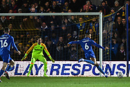 Wimbledon defender Terell Thomas (6) takes a shot on goal during the The FA Cup fourth round match between AFC Wimbledon and West Ham United at the Cherry Red Records Stadium, Kingston, England on 26 January 2019.