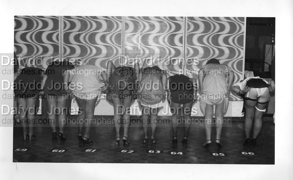 Contestants for the 'Loveley legs' competition at Butlins holiday camp.Minhead 1979.<br />ONE TIME USE ONLY - DO NOT ARCHIVE  © Copyright Photograph by Dafydd Jones 66 Stockwell Park Rd. London SW9 0DA Tel 020 7733 0108 www.dafjones.com