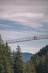 """THEMENBILD - Personen gehen über die Golden Gate Bridge der Alpen, die zum Baumzipfelweg führt. Die 200 Meter lange Brücke überspannt den Talschluss in einer Höhe von 42 Metern. Sie verbindet das """"Festland"""" mit dem 1 km langen Baumzipfelweg, dem höchstgelegenen Wipfelwanderweg Europas, welcher auf 11 Türmen in 30 m Höhe erbaut wurde, aufgenommen am 13. Oktober 2019 in Saalbach Hinterglemm, Oesterreich // People walk over the Golden Gate Bridge of the Alps, which leads to the treetop path. The 200 meter long bridge spans the end of the valley at a height of 42 meters. It connects the """"mainland"""" with the 1 km long Baumzipfelweg, the highest treetop hiking trail in Europe, which was built on 11 towers at a height of 30 metres, in Saalbach Hinterglemm in Austria on 2019/10/13. EXPA Pictures © 2019, PhotoCredit: EXPA/Stefanie Oberhauser"""