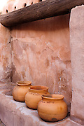 A row of pottery in the granery in the Tumacacori National Historic Partk in Arizona.