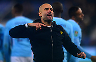 Manchester City Manager Pep Guardiola celebrates after his sides win in the penalty shootout .Carabao Cup quarter final match, Leicester City v Manchester City at the King Power Stadium in Leicester, Leicestershire on Tuesday 19th December 2017.<br /> pic by Bradley Collyer, Andrew Orchard sports photography.