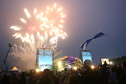 Fireworks light up the main stage at the end of Rockness 2007