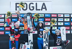 Podium: 1.st Ledecka Ester, 2.nd Riegler Claudia, 3nd. Dujmovits Julia, 4th. Kotnik Gloria / FIS snowboarding world cup race in Rogla (SI / SLO) | GS on January 20, 2018, in Jasna Ski slope, Rogla, Slovenia. Photo by Urban Meglic / Sportida