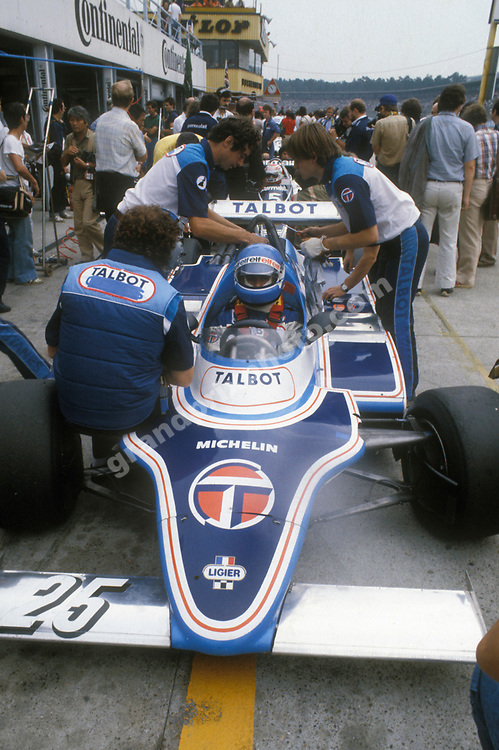Patrick Tambay (Ligier-Matra) in the pits at Hockenheim during practice for the 1981 German Grand Prix. Photo: Grand Prix Photo