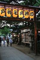 Japanese Lanterns Illuminated at Shrine Festival