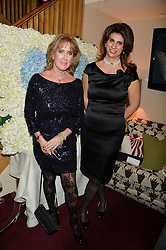 Left to right, GILLIAN MURRAY and CLAUDIA ARTHUR-FLATZ from the United National Office of Drugs and Crime at a party hosted by Lady Kinvara Balfour, Lavinia Brennan and Lady Natasha Rufus Isaacs to celebrate the Beulah French Sole Collaboration in aid of the UN Blue Heart Campaign, held at George, 87-88 Mount Street, London on 10th December 2013.