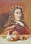 Nicolas Lémery (or Lemery as his name appeared in his international publications) (17 November 1645 – 19 June 1715), French chemist, was born at Rouen. He was one of the first to develop theories on acid-base chemistry. From the book La ciencia y sus hombres : vidas de los sabios ilustres desde la antigüedad hasta el siglo XIX T. 2  [Science and its men: lives of the illustrious sages from antiquity to the 19th century Vol 2] By by Figuier, Louis, (1819-1894); Casabó y Pagés, Pelegrín, n. 1831 Published in Barcelona by D. Jaime Seix, editor , 1879 (Imprenta de Baseda y Giró)