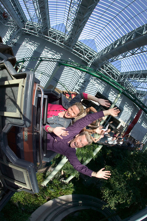 Riders enjoy the thrills of the Ripsaw roller coaster at Camp Snoopy inside Mall of America in Bloomington, MN.