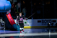 KELOWNA, BC - SEPTEMBER 21:  Jake Poole #10  of the Kelowna Rockets enters the ice for home opener against the Spokane Chiefs at Prospera Place on September 21, 2019 in Kelowna, Canada. (Photo by Marissa Baecker/Shoot the Breeze)