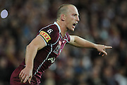 May 25th 2011: Darren Lockyer of the Maroons directs his palyers during game 1 of the 2011 State of Origin series at Suncorp Stadium in Brisbane, Australia on May 25, 2011. Photo by Matt Roberts/mattrIMAGES.com.au / QRL