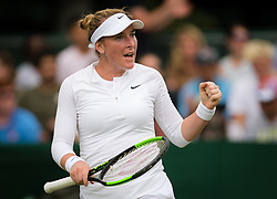 July 1, 2019 - London, GREAT BRITAIN - Madison Brengle of the United States in action during the first round of the 2019 Wimbledon Championships Grand Slam Tennis Tournament against Marketa Vondrousova of the Czech Republic (Credit Image: © AFP7 via ZUMA Wire)