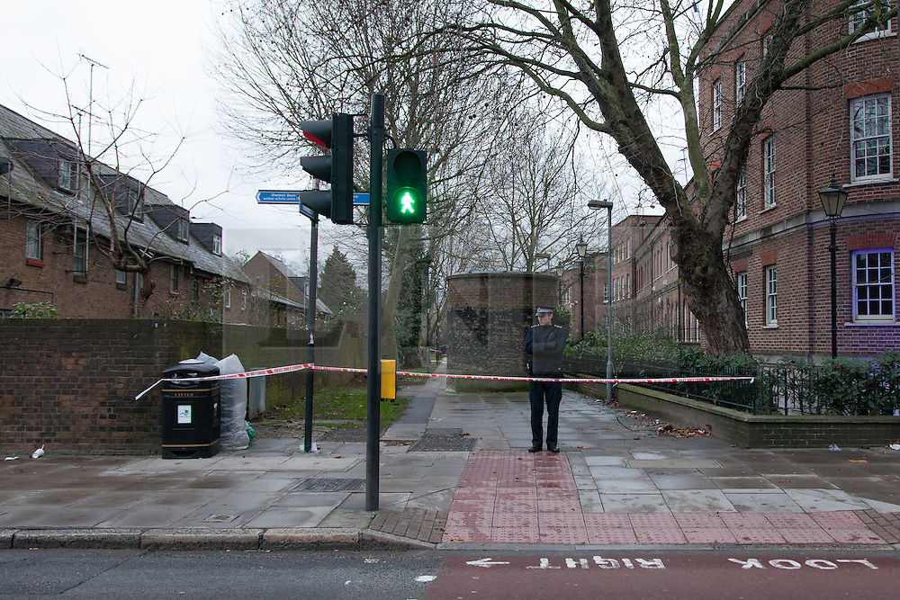© Licensed to London News Pictures. 30/12/2012. London, UK. A Metropolitan Police officer stands on The Highway in East London, at the entrance to Wapping Woods, where a woman was attacked on 29 December 2012. This is the second stabbing in Wapping Woods this month. Photo credit : Vickie Flores/LNP