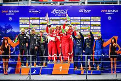 May 13, 2018 - Monza, Italie - 55 SPIRIT OF RACE (CHE) FERRARI F488 GTE GTE DUNCAN CAMERON (GBR) MATTHEW GRIFFIN (IRL) AARON SCOTT (GBR) WINNER GTE #77 PROTON COMPETITION (DEU) PORSCHE 911 RSR GTE MARVIN DEINST (DEU) CHRISTIAN RIED (DEU) MARC LIEB (DEU) SECOND GTE #80 EBIMOTORS (ITA) PORSCHE 911 RSR GTE FABIO BABINI (ITA) RICCARDO PERA (ITA) RAYMON NARAC (FRA) THIRD GTE (Credit Image: © Panoramic via ZUMA Press)