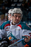 KELOWNA, CANADA - FEBRUARY 10: Reid Gardiner #23 of the Kelowna Rockets stands at the boards during warm up against the Vancouver Giants on February 10, 2017 at Prospera Place in Kelowna, British Columbia, Canada.  (Photo by Marissa Baecker/Shoot the Breeze)  *** Local Caption ***