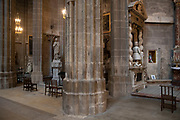 Interior of Narbonne Cathedral in Narbonne, France. Cathedrale Saint-Just-et-Saint-Pasteur de Narbonne, is a Gothic style Roman Catholic church located in the town of Narbonne, France. The cathedral is a national monument and dedicated to Saints Justus and Pastor.