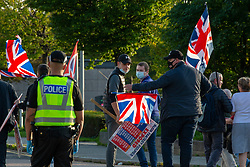 17SEP20 The counter demo head off from the BBC. All Under One Banner demo outside the BBC at Pacific Quay.